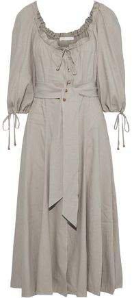 Belted Ruffle-trimmed Linen-blend Midi Dress
