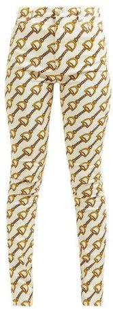 Stirrup Print Stretch Cotton Blend Skinny Jeans - Womens - Ivory Multi