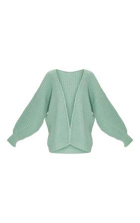 Sage Green Chunky Knit Slouchy Cardigan | PrettyLittleThing USA
