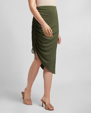 High Waisted Asymmetrical Ruched Tie Skirt