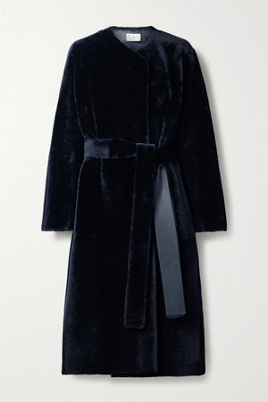 Midnight blue Ferin belted shearling coat | The Row | NET-A-PORTER