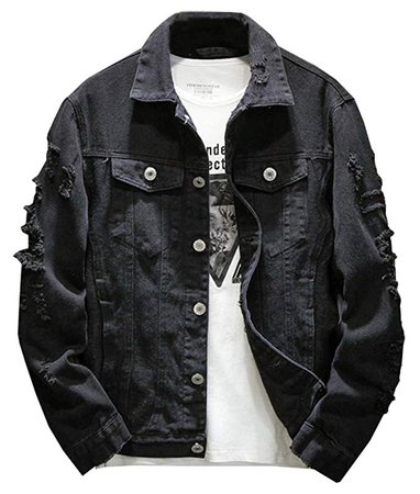 Kedera Distressed Denim Jacket Men's Button Down Denim Jacket Trucker Jean Coat at Amazon Men's Clothing store