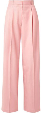 Elin Wool-twill Wide-leg Pants - Baby pink