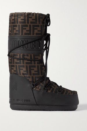 Printed Shell And Rubber Snow Boots - Brown