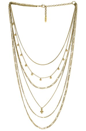The Hammered Cross Multi Charm Necklace