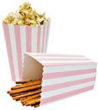 Pink Stripe Popcorn Boxes, Hot Pink (12 Pack) - Girl Baby Shower Favors, Wedding & Party Movie Theater Style Gourmet Mini Popcorn Containers: Kitchen & Dining