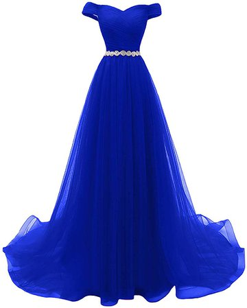 Dymaisei Women's Beaded A-line Tulle Prom Dresses Off The Shoulder Formal Evening Dresses US12 Royal Blue at Amazon Women's Clothing store