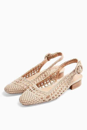 LILY Cream Woven Slingback Shoes | Topshop