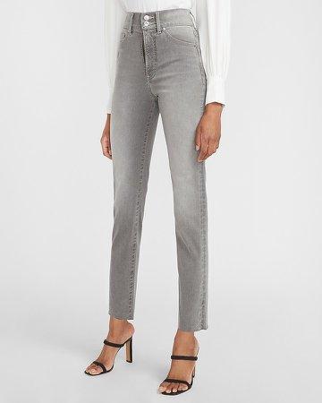 Super High Waisted Supersoft Gray Raw Hem Slim Jeans