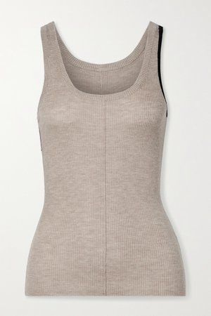 Beige Vin two-tone ribbed cashmere-blend tank | Peter Do | NET-A-PORTER