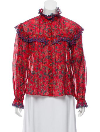 Étoile Isabel Marant Broderie Anglaise-Trimmed Floral Print Top w/ Tags - Clothing - WET65893 | The RealReal