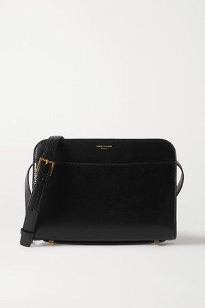 Reversed Leather Shoulder Bag - Black