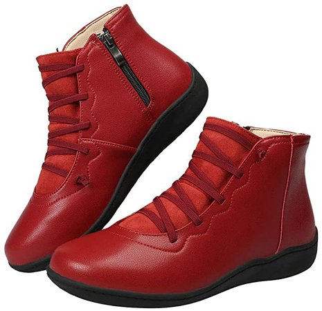 Amazon.com | Harence Booties for Women Side Zipper Leather Boots Comfortable Ankle Boots Outdoor Anti-Slip Waterproof Flats Shoes Red | Ankle & Bootie
