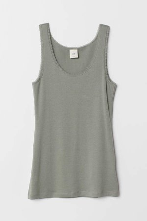 Tank Top with Lace - Green