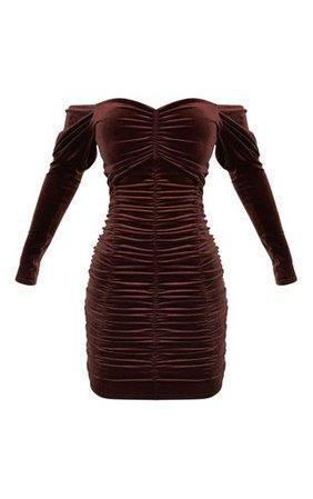 Chocolate Velvet Ruched Front Bardot Bodycon Dress | PrettyLittleThing