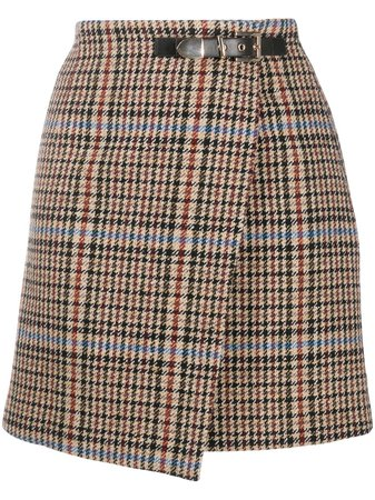 Sandro Paris Houndstooth Buckled Wrap Skirt - Farfetch