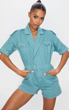 Aqua Blue Denim Wrap Over Playsuit | Denim | PrettyLittleThing