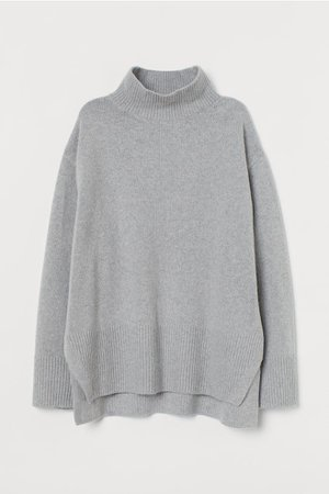 Knitted polo-neck jumper - Light grey - Ladies   H&M