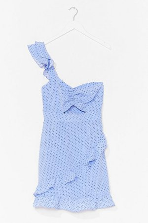 Spot One Shoulder Frill Mini Dress | Nasty Gal