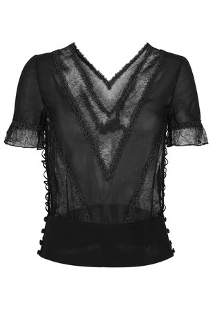 Crystal Forms Black Silk Georgette And Lace Pyjama Top With Lurex Embroidery | La Perla