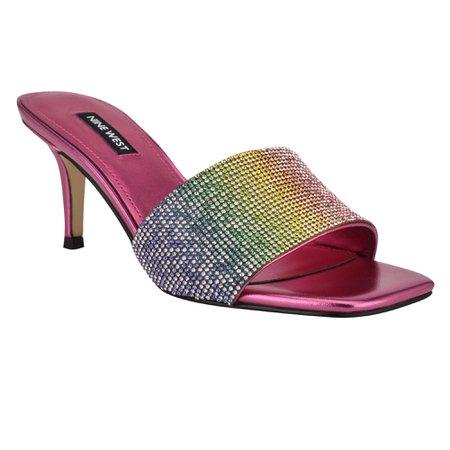 Donnah Rhinestone Heeled Slide Sandals - Nine West
