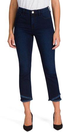 Angled Fray Hem Straight Leg Jeans