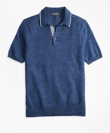 Linen and Cotton Polo Sweater - Brooks Brothers