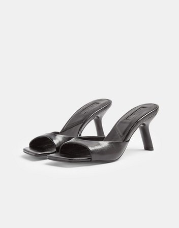 Topshop mules with flared heel in black | ASOS