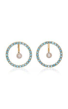 Gold, Blue Topaz And Floating Diamond Earrings by Mateo | Moda Operandi