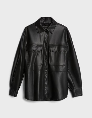 Faux leather overshirt - Shoes - Woman | Bershka