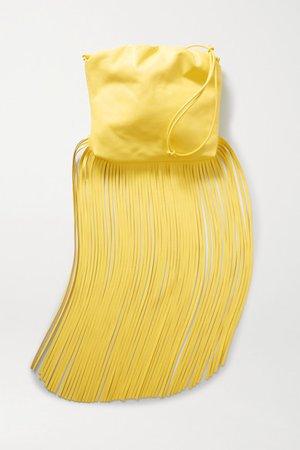 Fringe Gathered Leather Shoulder Bag - Yellow
