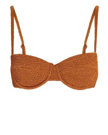 Veronica Beard Dyer Smocked Bikini Top   INTERMIX®