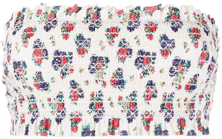 floral print gathered bikini top