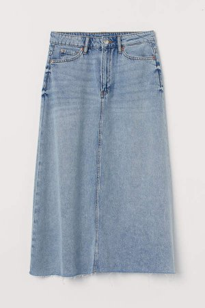 A-line Denim Skirt - Blue