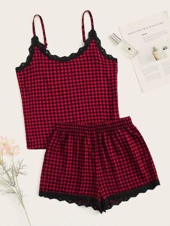 Gingham Lace Trim Cami Pajama Set   ROMWE