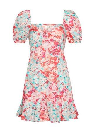 Pink Poplin Watercolour Mini Dress | Miss Selfridge