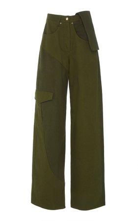 Le Jean De Nimes Two-Tone Cotton-Twill Wide-Leg Pants by Jacquemus | Moda Operandi