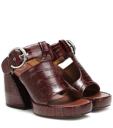 Wave embossed leather sandals