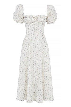 Clothing : Midi Dresses : 'Tallulah' White Floral Puff Sleeve Midi Dress