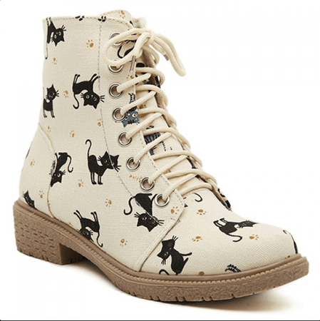 cat canvas short boots Martin boots White