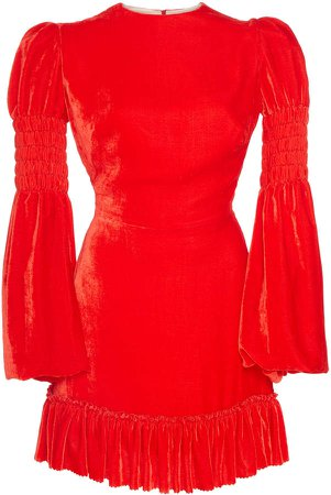 Ruffled Velvet Mini Dress