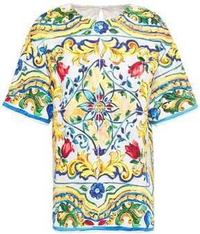 Printed Cotton-blend Jacquard Top