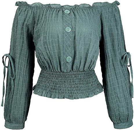Womens Long Sleeve Off The Shoulder Tops Shirt Blouse Smocked Top, Green XS at Amazon Women's Clothing store