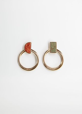 Stone hoop earrings - Women | Mango USA gold