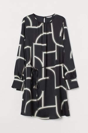 Patterned Satin Dress - Black