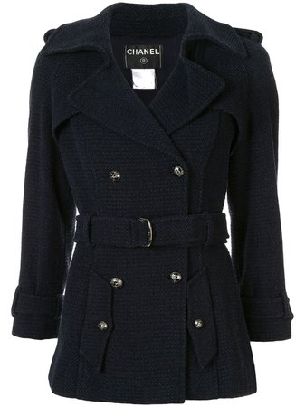 Chanel Pre-Owned Woven Fitted Belted Jacket Vintage | Farfetch.Com