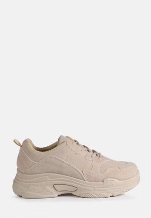Nude Chunky Sole Faux Suede Sneakers | Missguided
