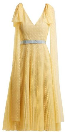 Polka Dot Jacquard Pleated Gown - Womens - Yellow