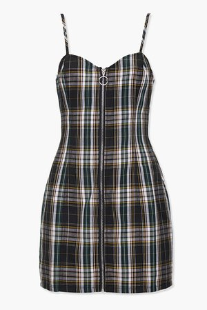 Zip-Front Plaid Mini Dress | Forever 21