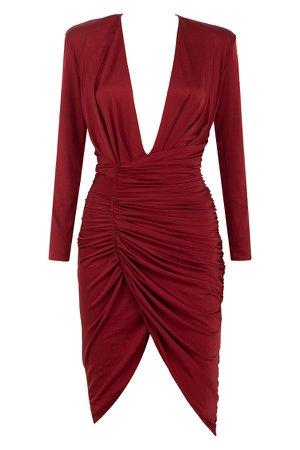 'Ida' Wine Ruched Wrap Dress House of CB